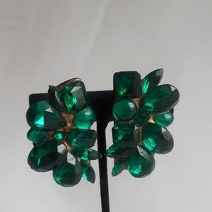 Jewelry - VINTAGE: Emerald Colored Stones Earrings